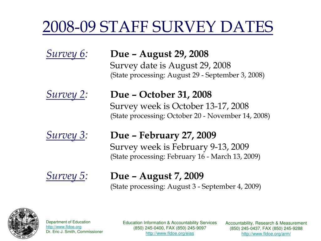 2008-09 STAFF SURVEY DATES