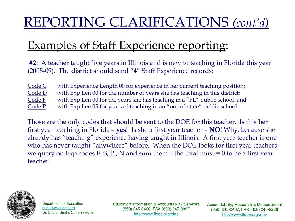 REPORTING CLARIFICATIONS