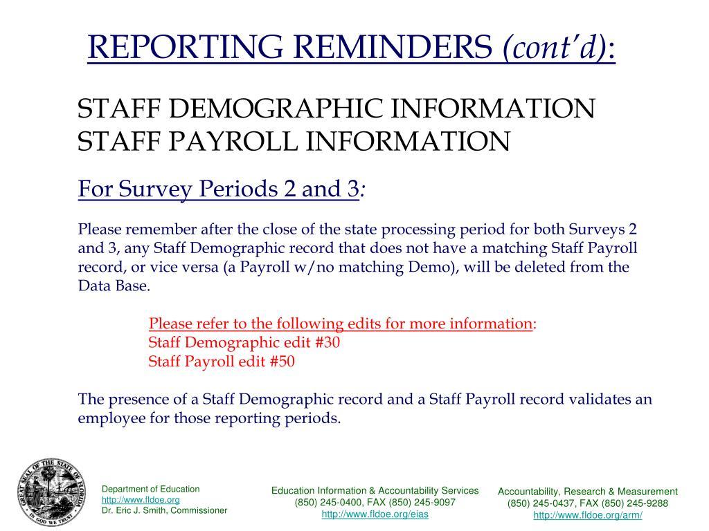 REPORTING REMINDERS