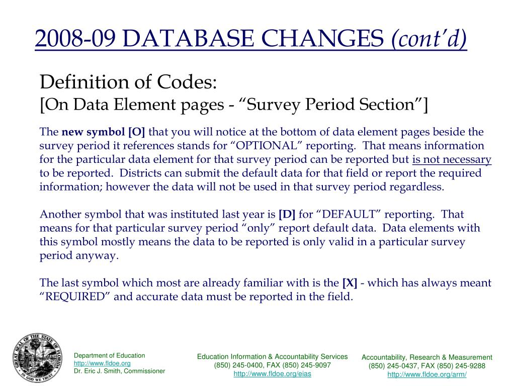 2008-09 DATABASE CHANGES