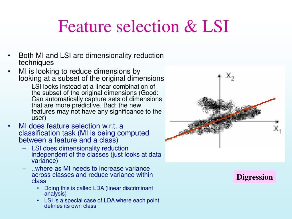 Feature selection & LSI