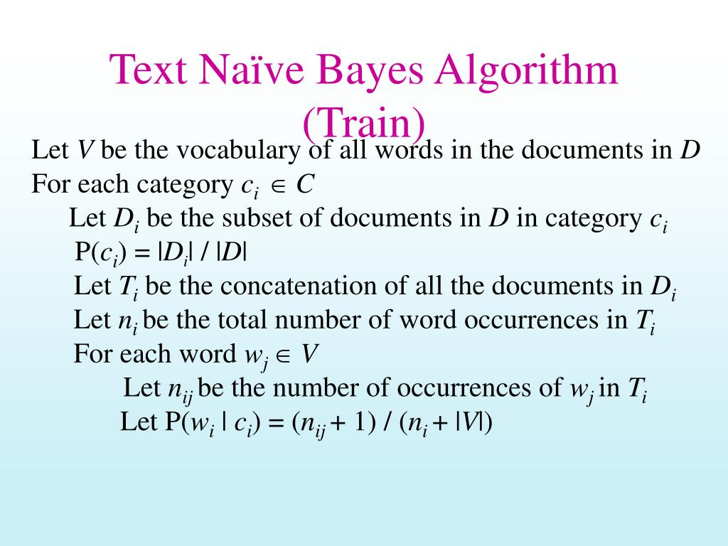 Text Naïve Bayes Algorithm