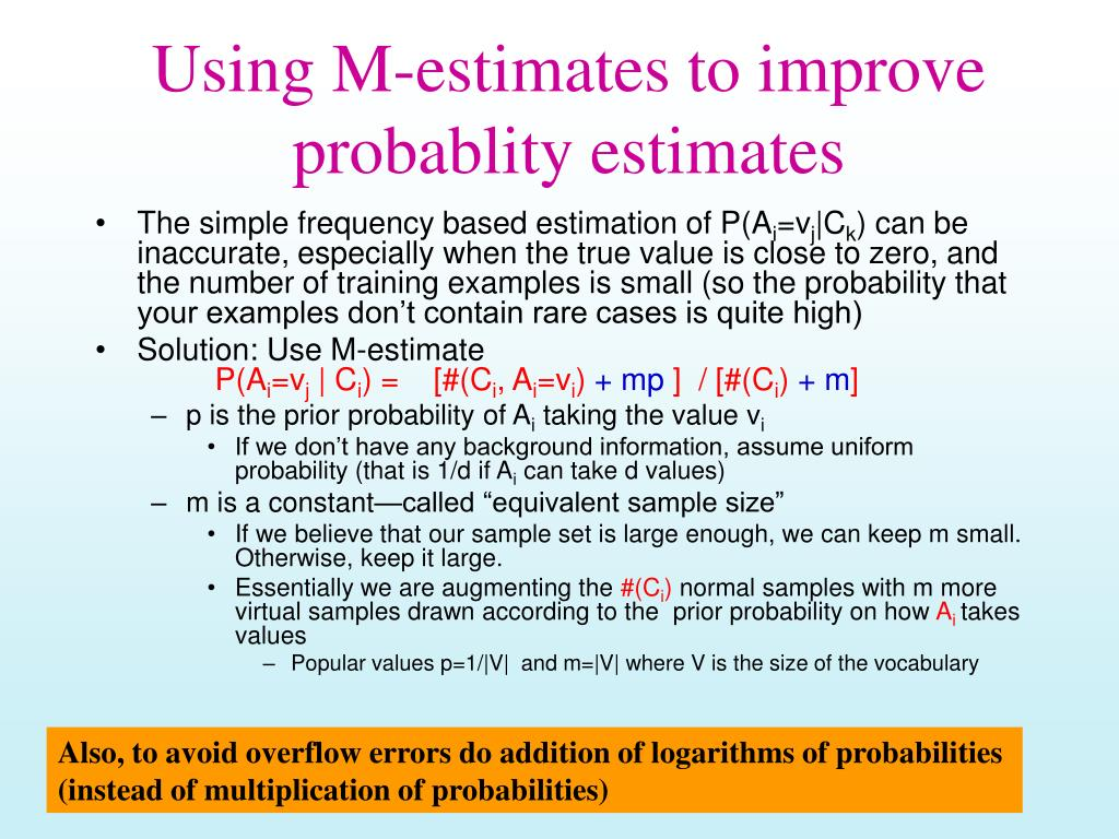 Using M-estimates to improve probablity estimates