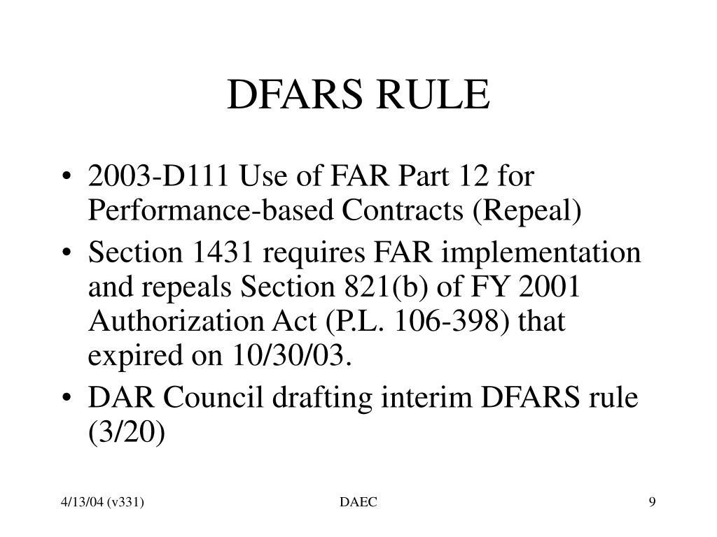 DFARS RULE