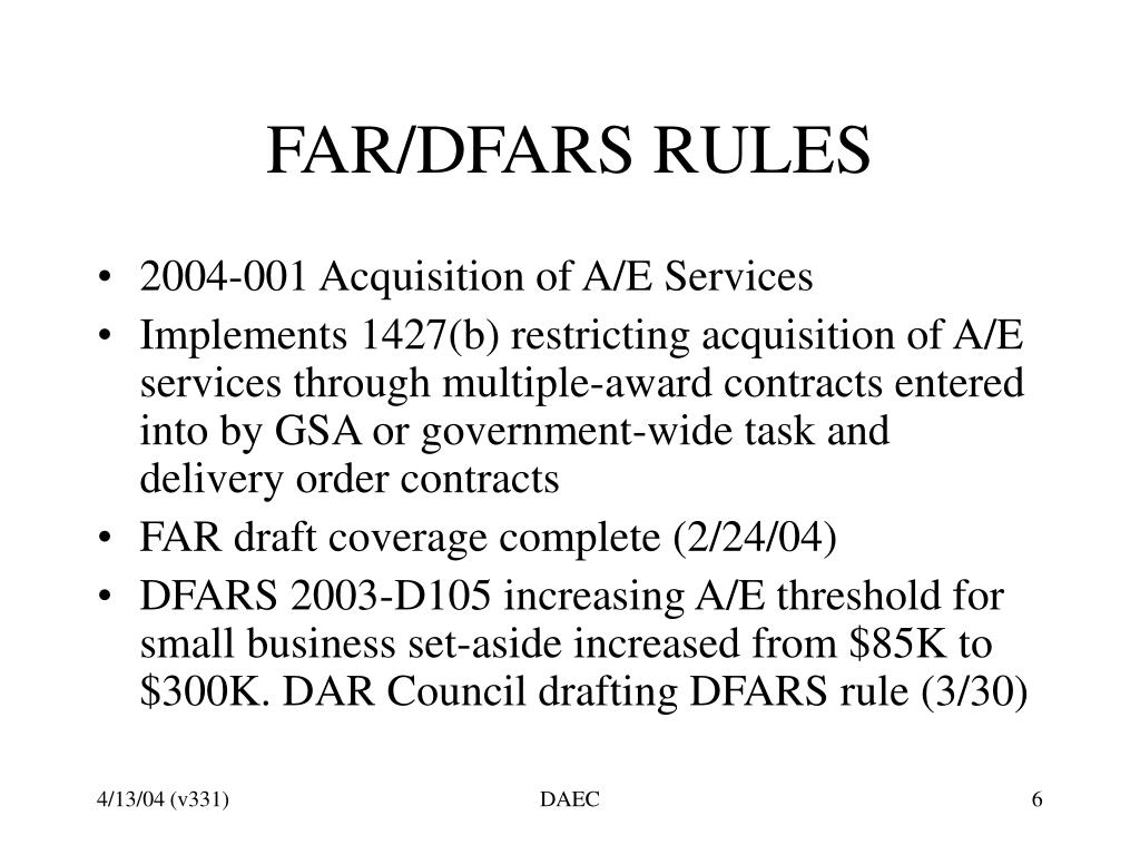 FAR/DFARS RULES