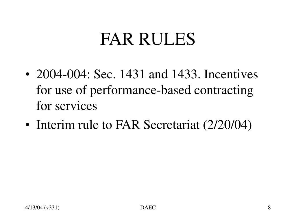 FAR RULES