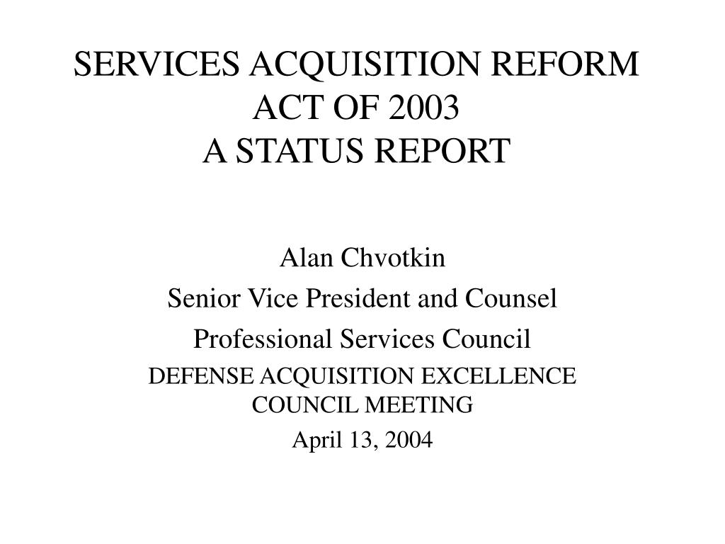 SERVICES ACQUISITION REFORM ACT OF 2003