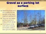 gravel as a parking lot surface