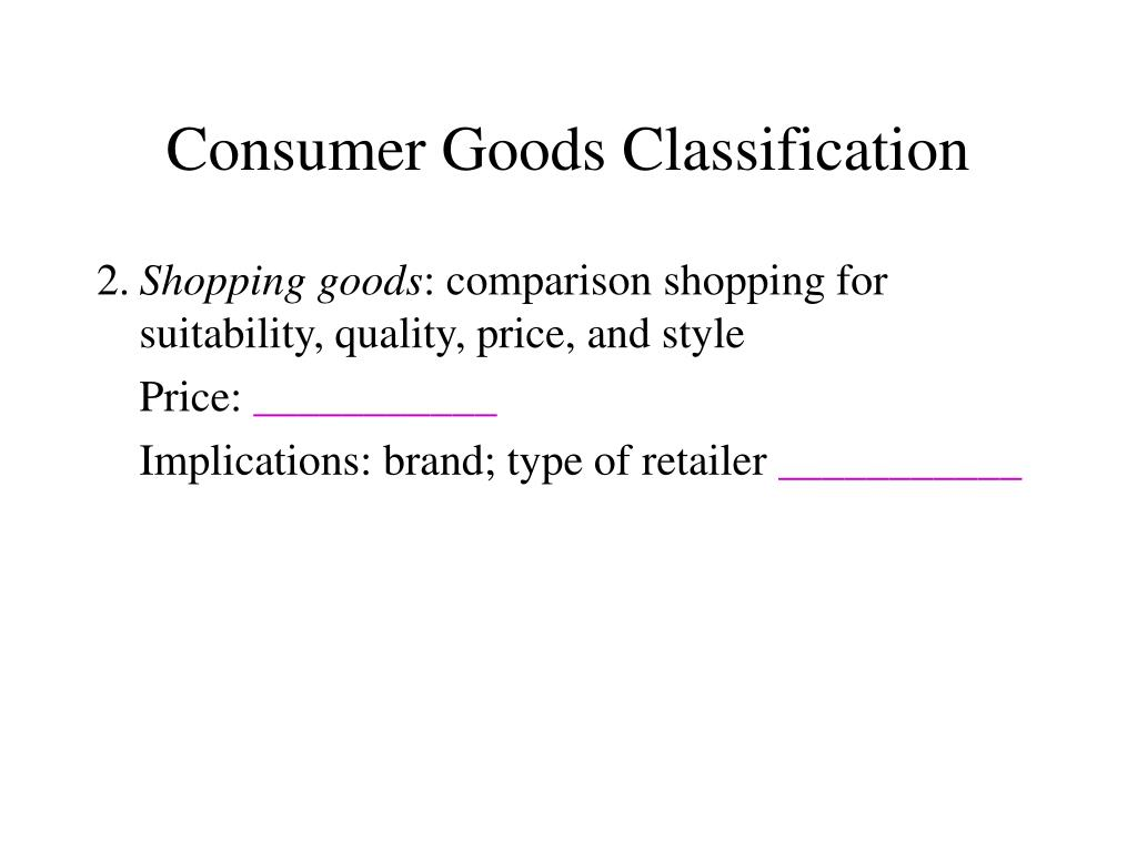 Consumer Goods Classification