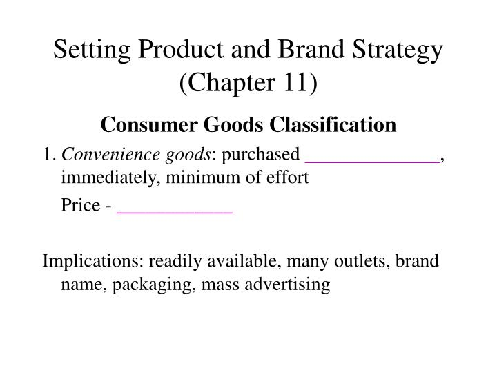 Setting product and brand strategy chapter 11