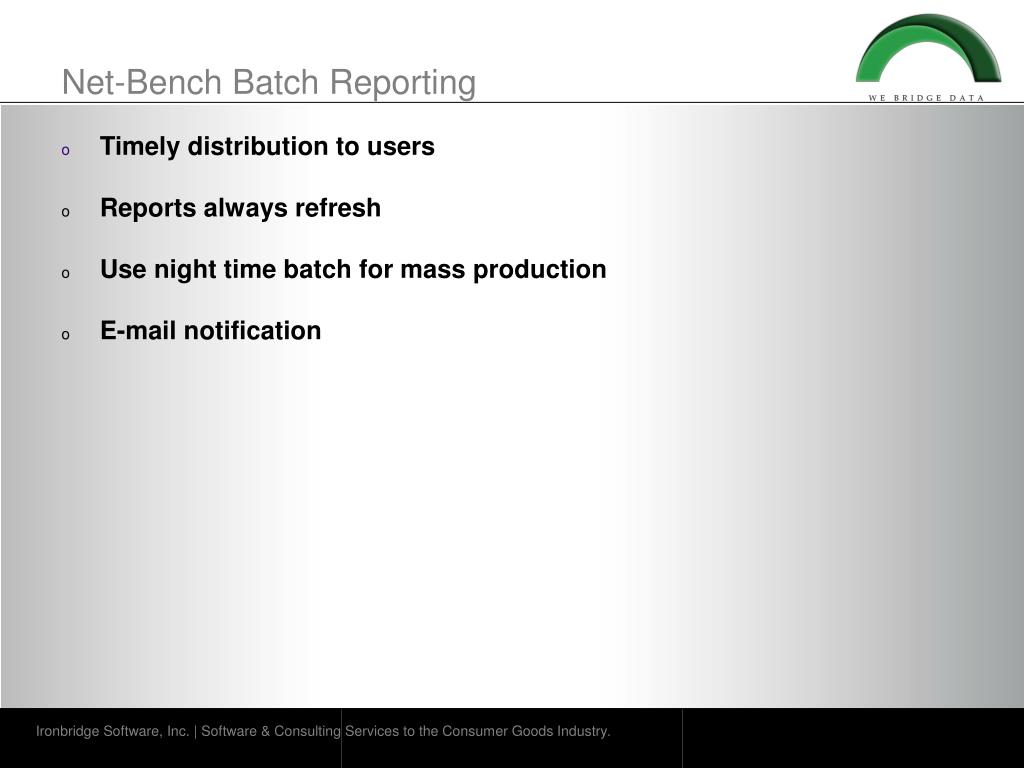 Net-Bench Batch Reporting