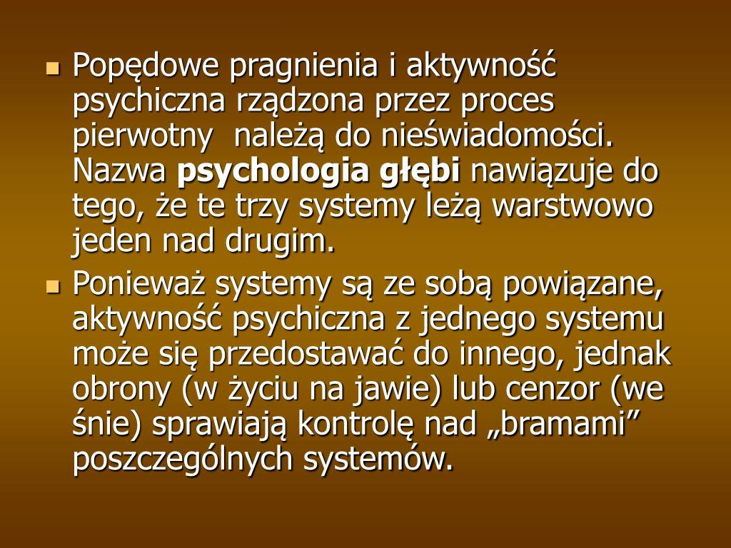Popędowe pragnienia i aktywność psychiczna rządzona przez proces pierwotny  należą do nieświadomości. Nazwa