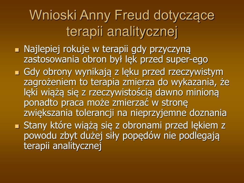 Wnioski Anny Freud dotyczące terapii analitycznej