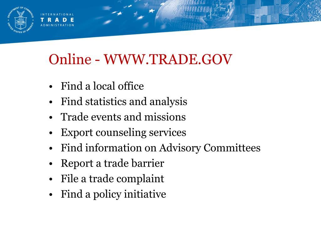 Online - WWW.TRADE.GOV