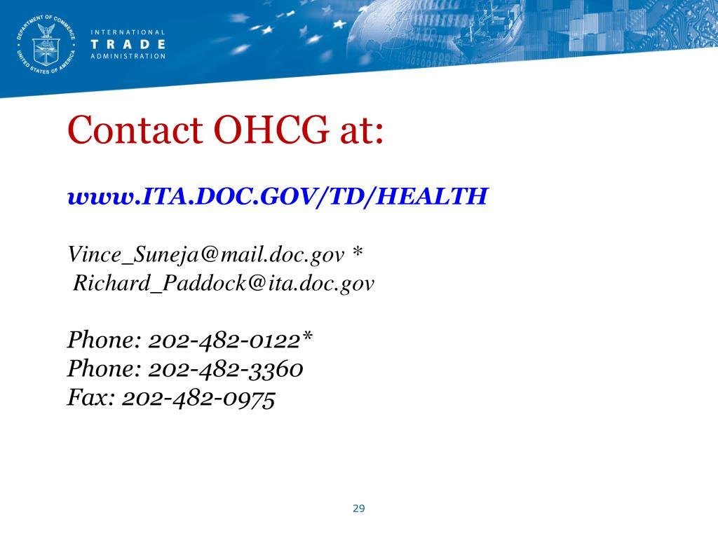 Contact OHCG at: