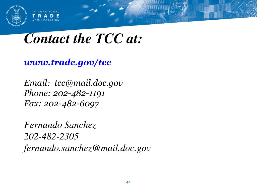 Contact the TCC at: