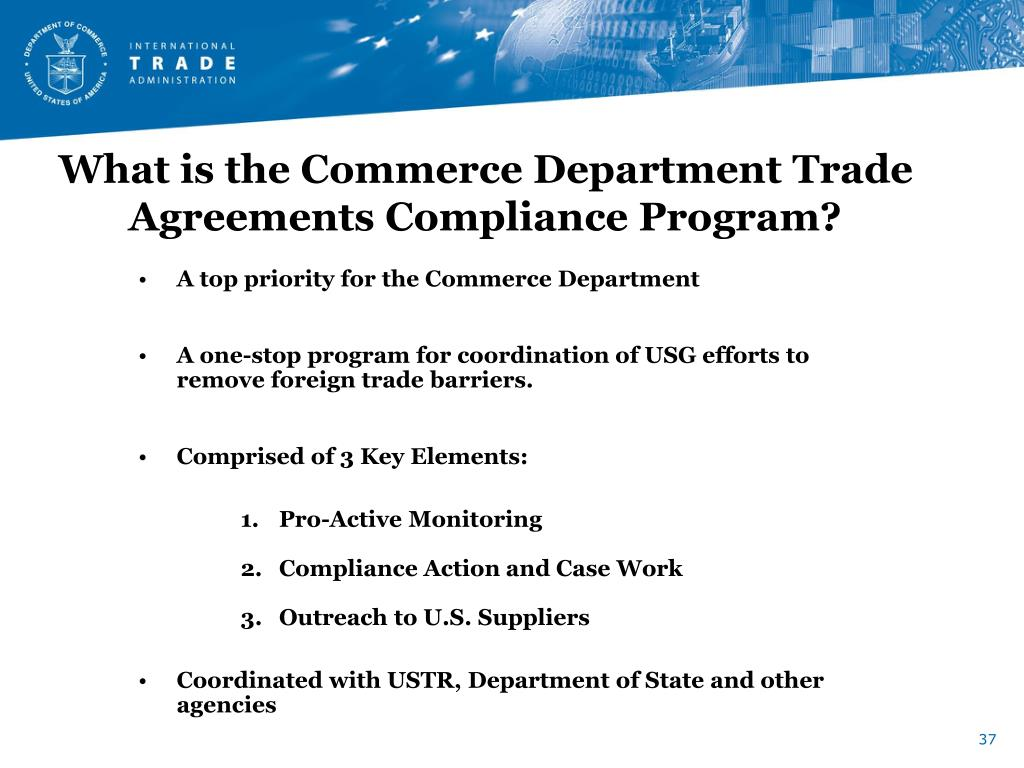 What is the Commerce Department Trade Agreements Compliance Program?