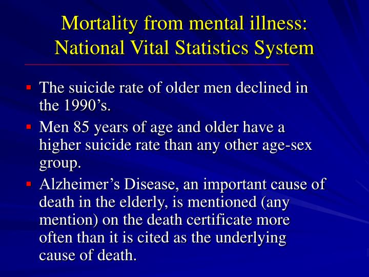 Mortality from mental illness:  National Vital Statistics System