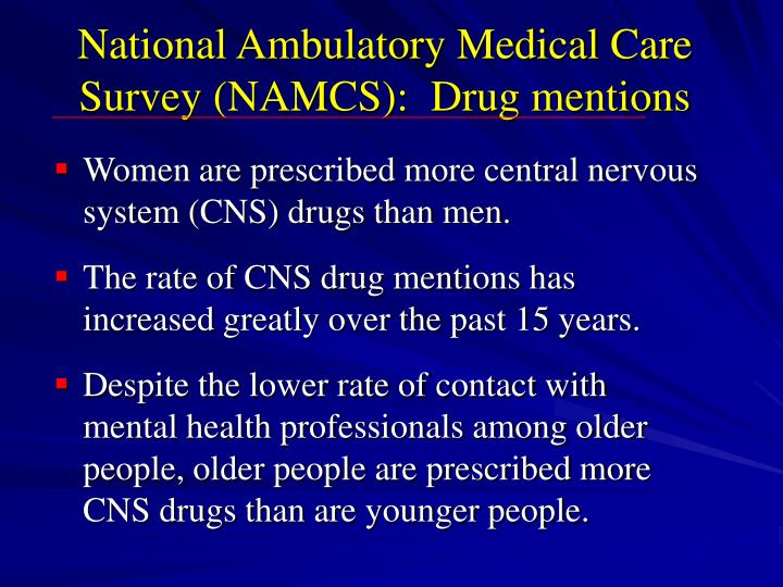 National Ambulatory Medical Care Survey (NAMCS):  Drug mentions