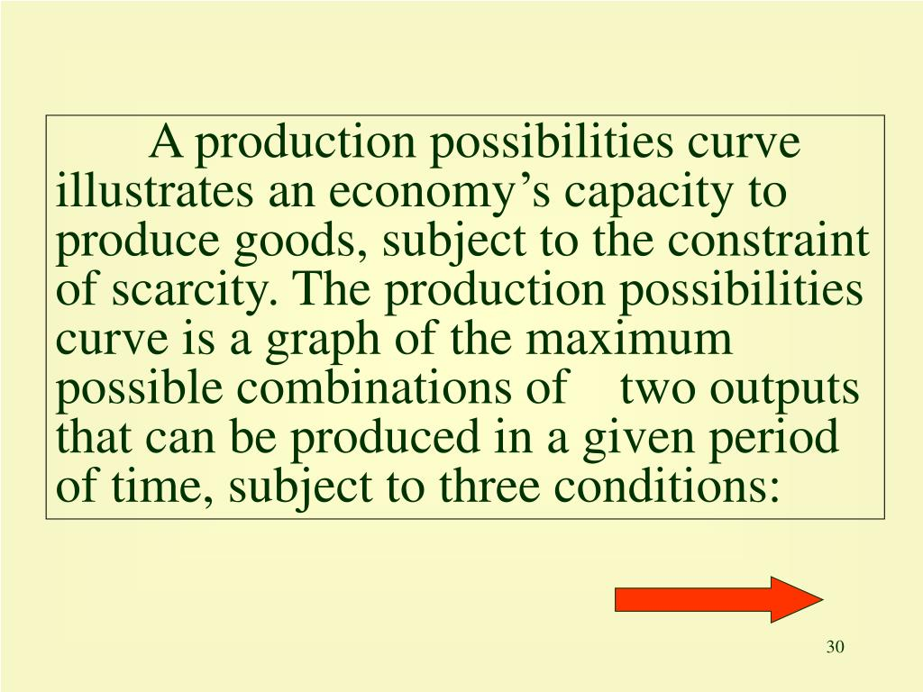 A production possibilities curve illustrates an economy's capacity to produce goods, subject to the constraint of scarcity. The production possibilities curve is a graph of the maximum possible combinations of    two outputs that can be produced in a given period of time, subject to three conditions: