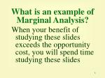 what is an example of marginal analysis