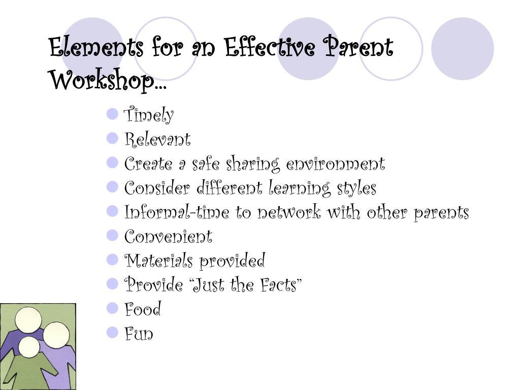 Elements for an Effective Parent Workshop...