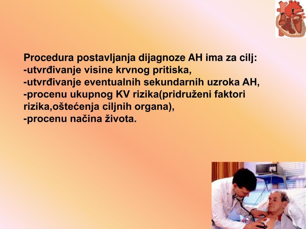 Procedura postavljanja dijagnoze AH ima za cilj: