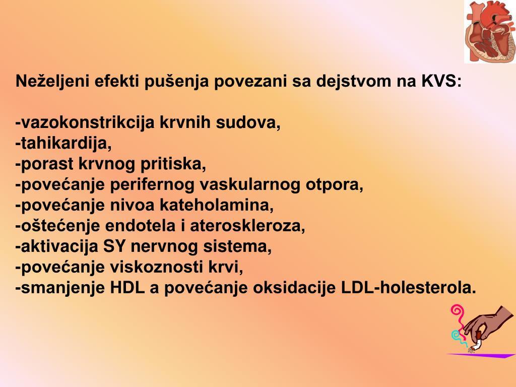 Neželjeni efekti pušenja povezani sa dejstvom na KVS: