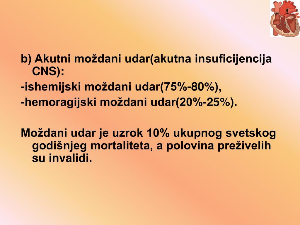 b) Akutni moždani udar(akutna insuficijencija CNS):