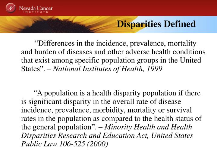 Disparities Defined