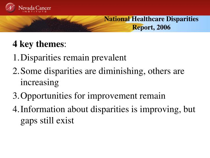 National Healthcare Disparities Report, 2006