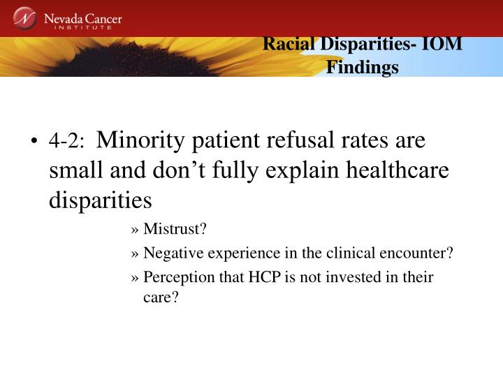 Racial Disparities- IOM Findings