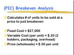 pic breakeven analysis