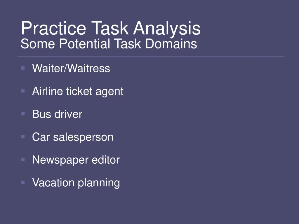 Practice Task Analysis