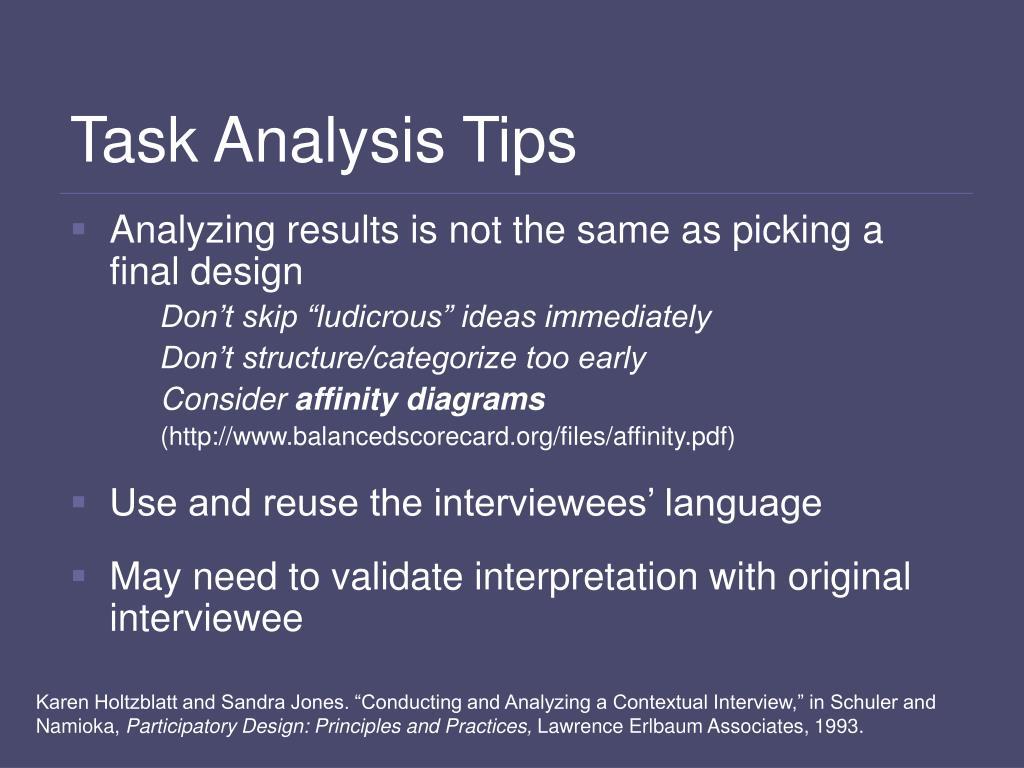 Task Analysis Tips