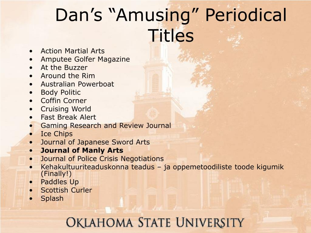 "Dan's ""Amusing"" Periodical Titles"
