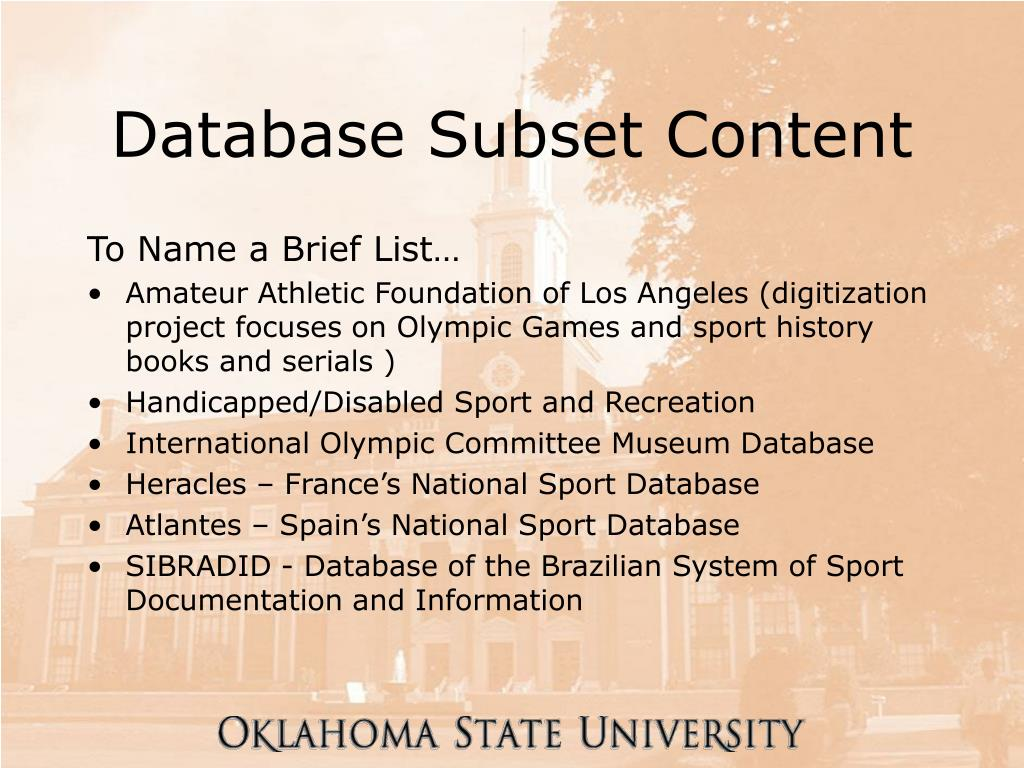 Database Subset Content
