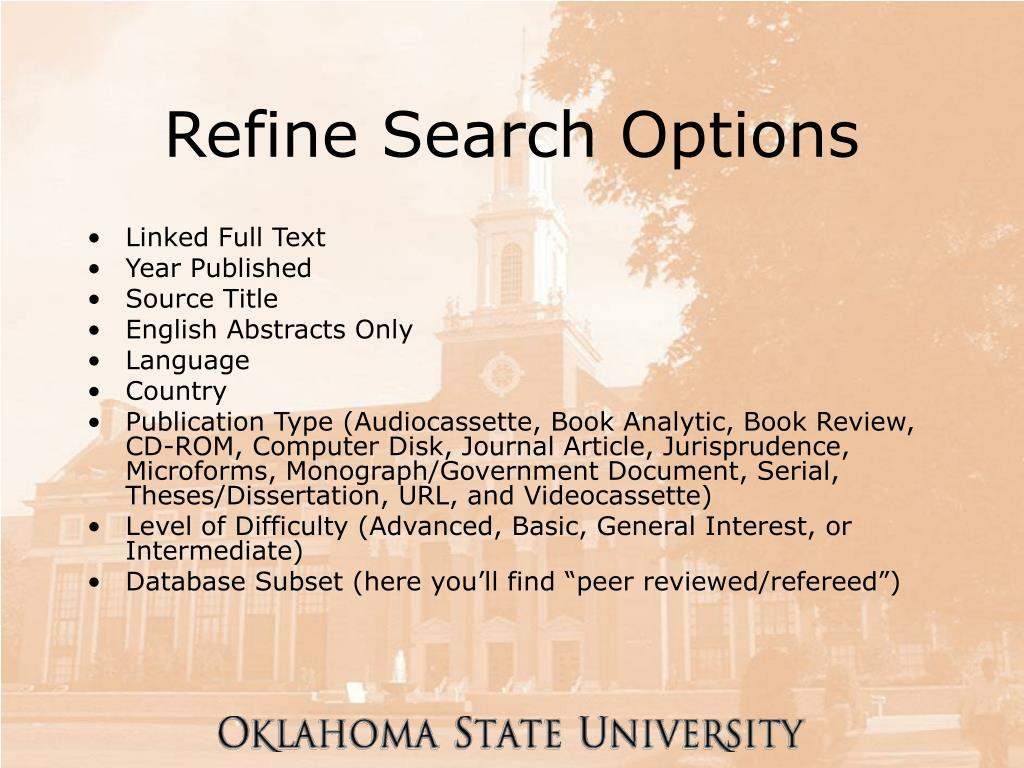 Refine Search Options