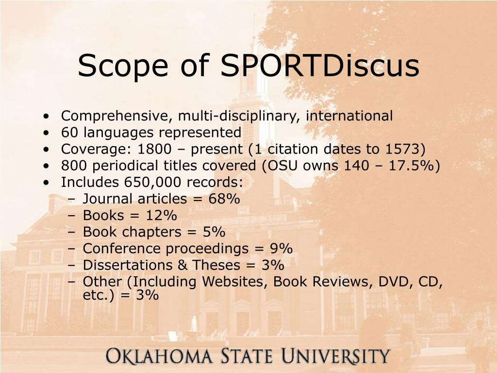 Scope of SPORTDiscus