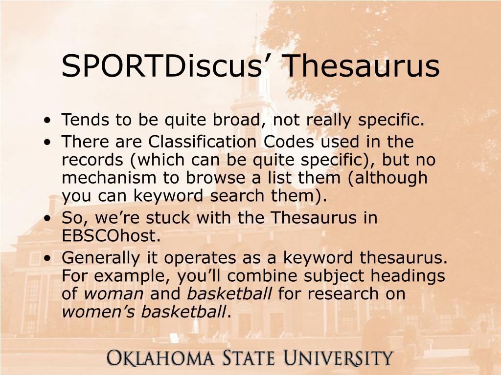 SPORTDiscus' Thesaurus