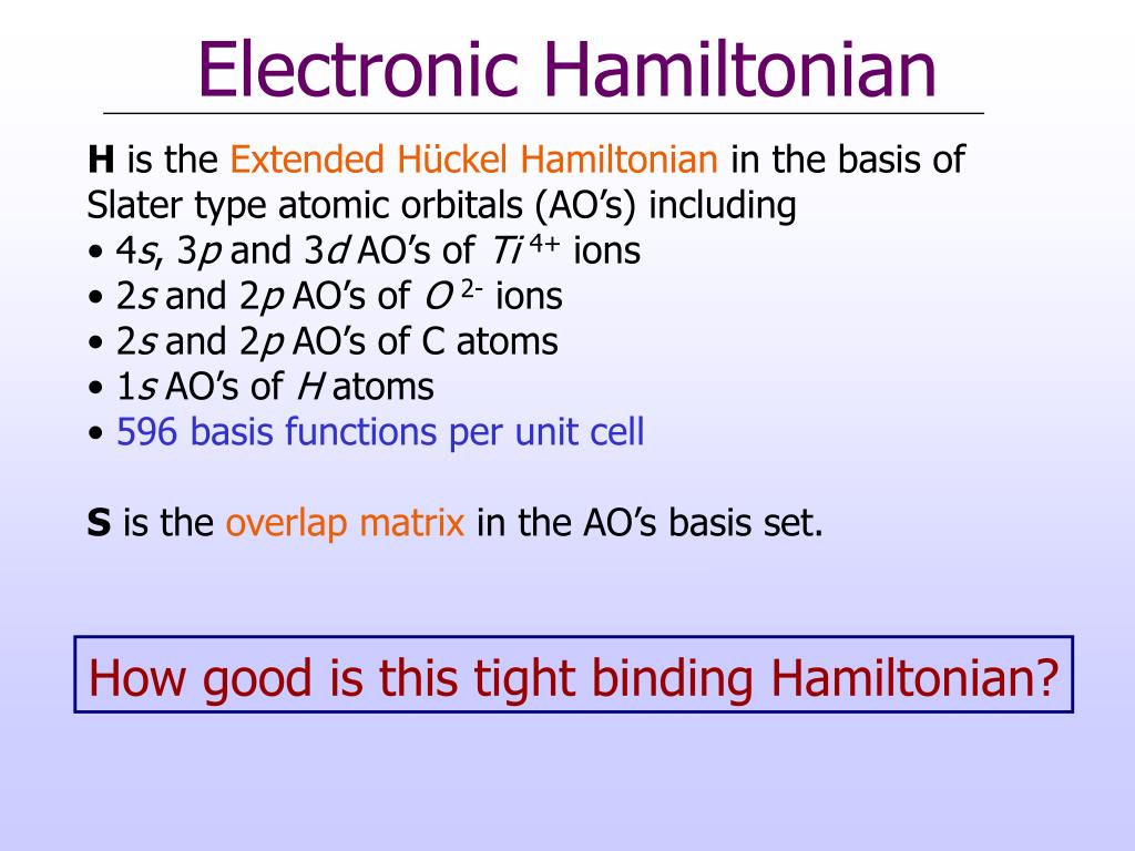 Electronic Hamiltonian