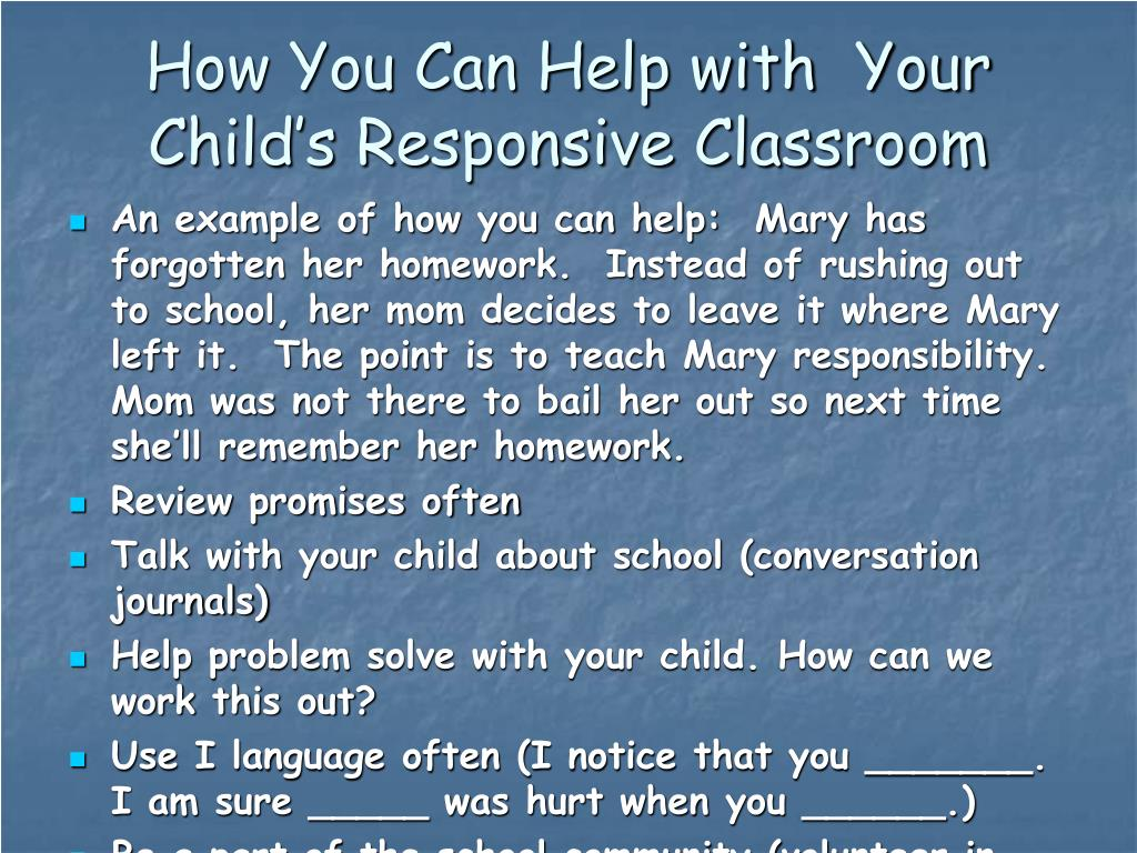 How You Can Help with  Your Child's Responsive Classroom
