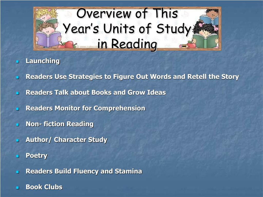 Overview of This Year's Units of Study in Reading