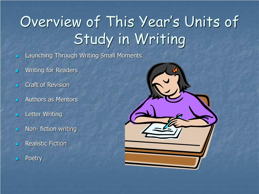Overview of This Year's Units of Study in Writing