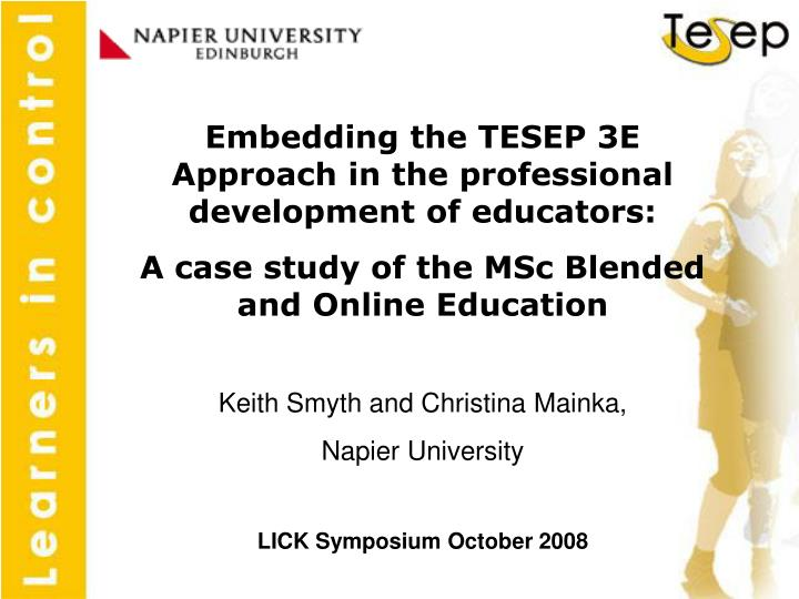 Embedding the TESEP 3E Approach in the professional development of educators: