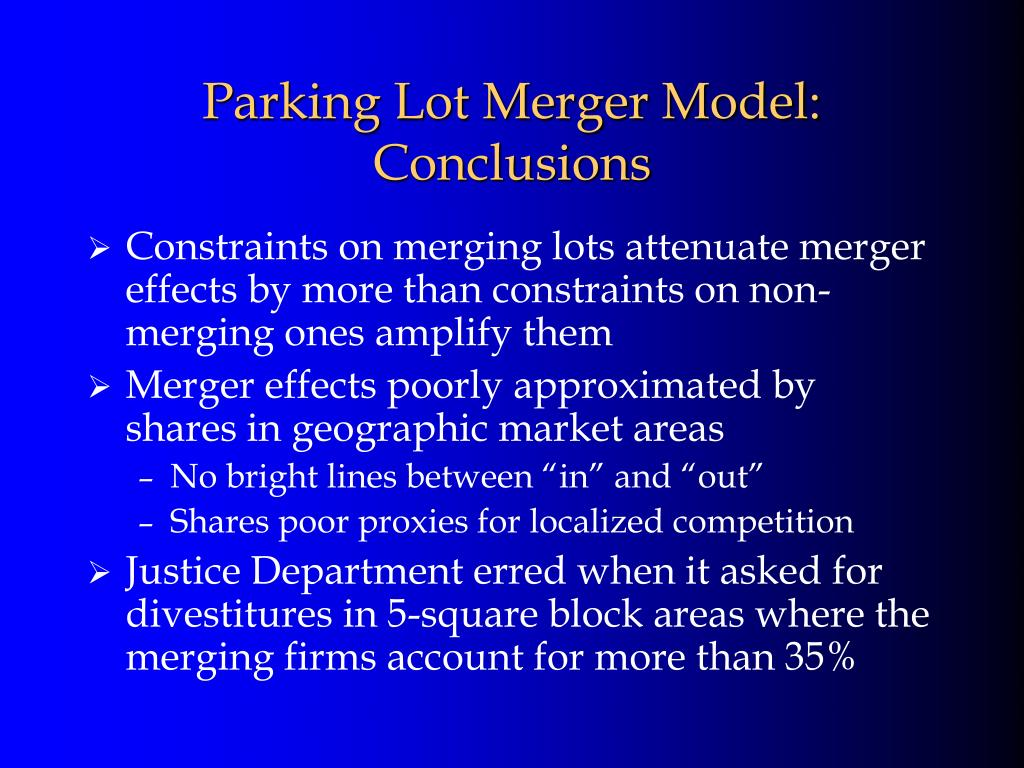Parking Lot Merger Model: