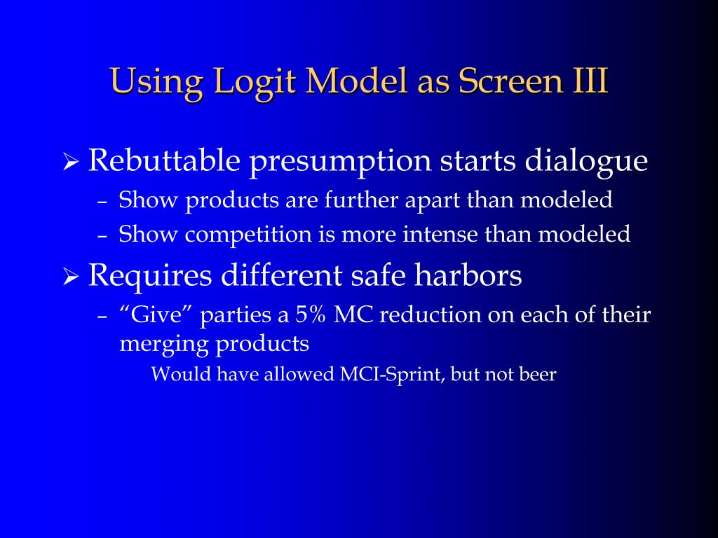 Using Logit Model as Screen III