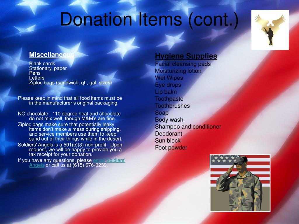 Donation Items (cont.)