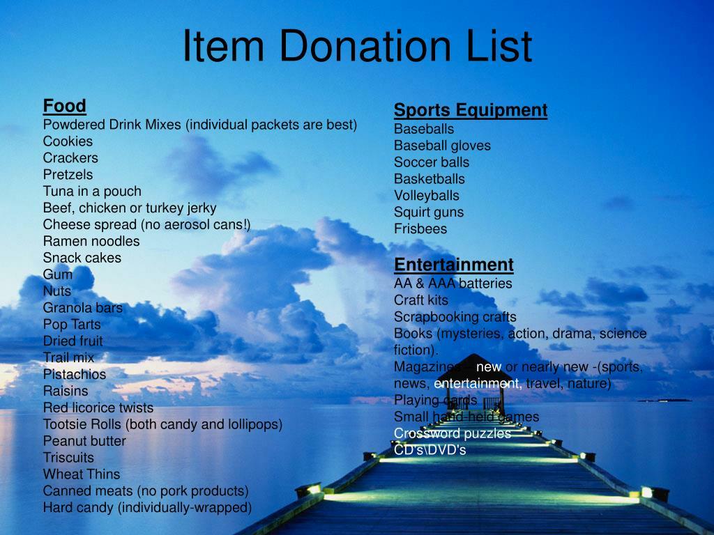 Item Donation List