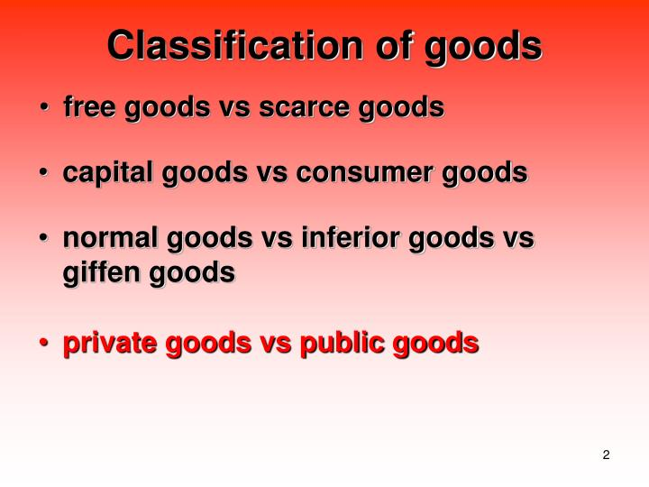 Classification of goods